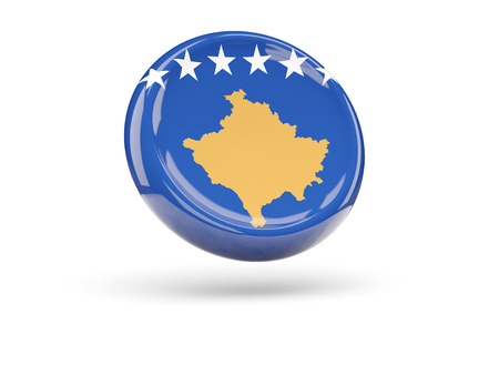 icon 3d: Flag of kosovo, round icon. 3D illustration