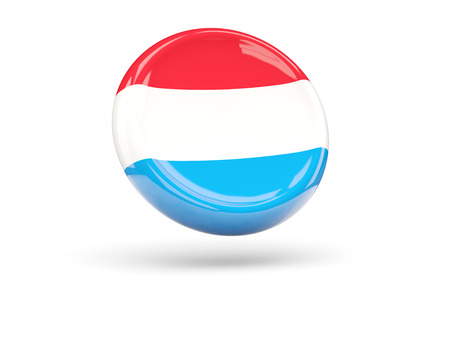 icon 3d: Flag of luxembourg, round icon. 3D illustration