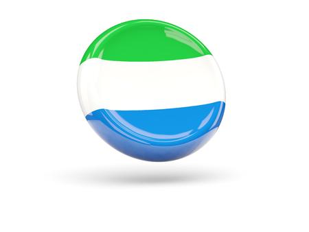 leone: Flag of sierra leone, round icon. 3D illustration