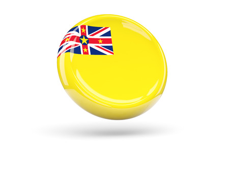 niue: Flag of niue, round icon. 3D illustration