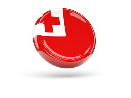 tonga: Flag of tonga, round icon. 3D illustration