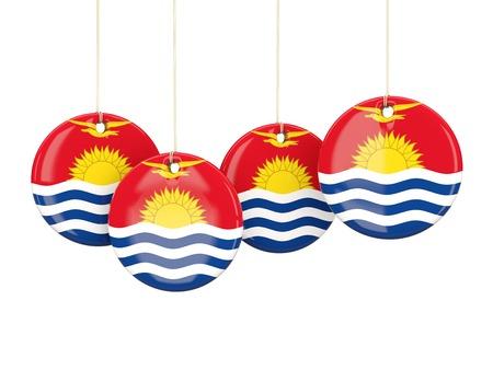 kiribati: Flag of kiribati, round labels on white. 3D illustration Stock Photo