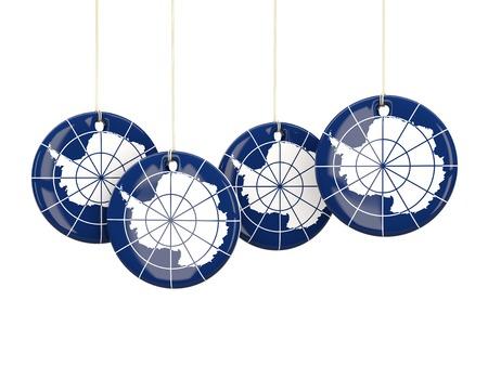 antarctica: Flag of antarctica, round labels on white. 3D illustration