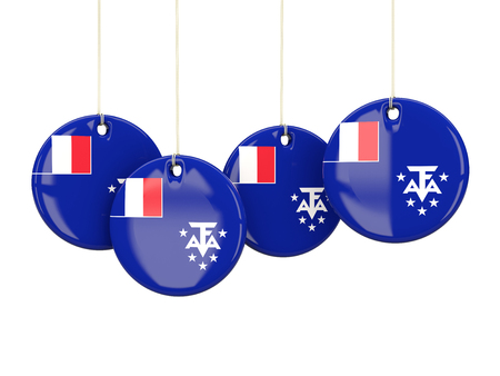 territories: Flag of french southern territories, round labels on white. 3D illustration