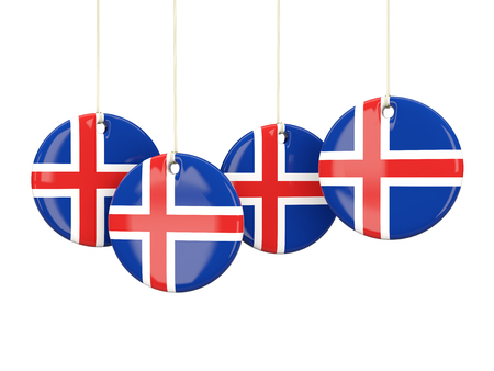 iceland: Flag of iceland, round labels on white. 3D illustration