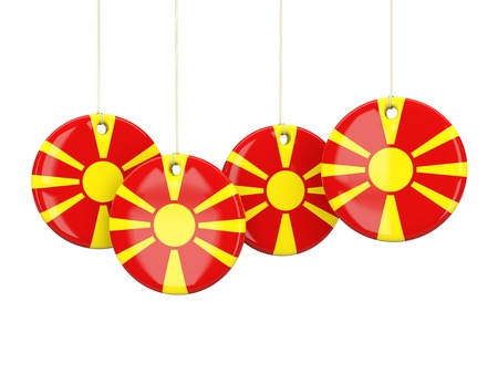 macedonia: Flag of macedonia, round labels on white. 3D illustration Stock Photo