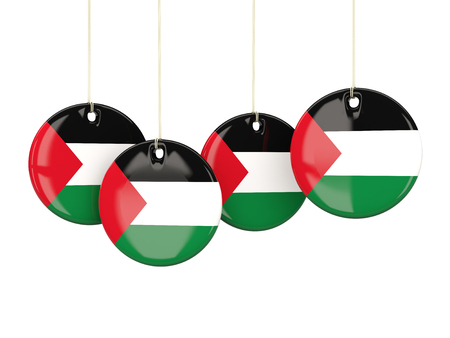 territory: Flag of palestinian territory, round labels on white. 3D illustration