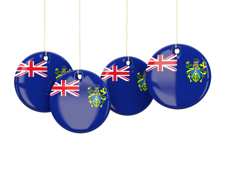 pitcairn: Flag of pitcairn islands, round labels on white. 3D illustration Stock Photo