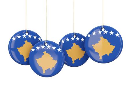 kosovo: Flag of kosovo, round labels on white. 3D illustration Stock Photo