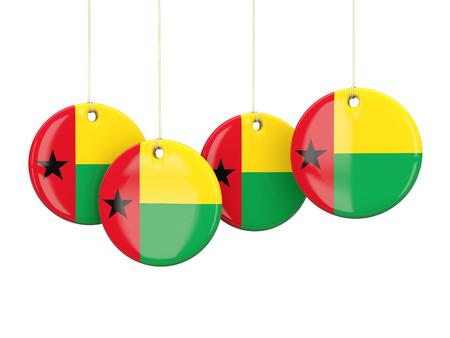 guinea bissau: Flag of guinea bissau, round labels on white. 3D illustration