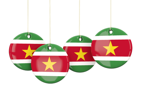 suriname: Flag of suriname, round labels on white. 3D illustration Stock Photo