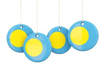 palau: Flag of palau, round labels on white. 3D illustration