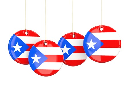bandera de puerto rico: Flag of puerto rico, round labels on white. 3D illustration