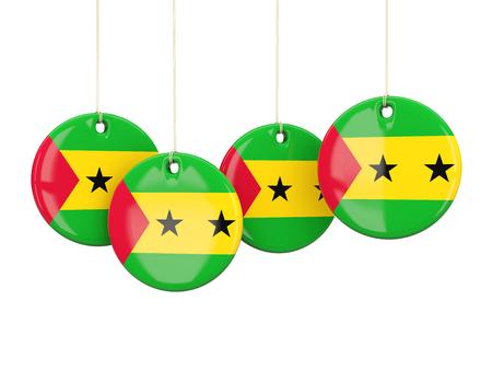 principe: Bandera de Santo Tomé y Príncipe, etiquetas redondas sobre blanco. ilustración 3D Foto de archivo