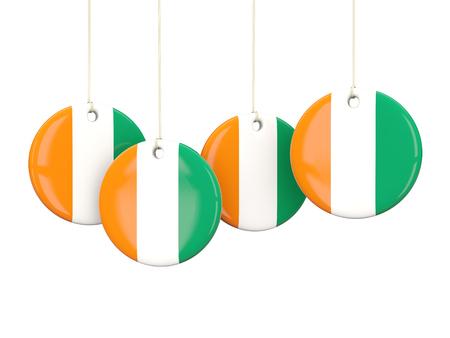 cote d ivoire: Flag of cote d Ivoire, round labels on white. 3D illustration Stock Photo