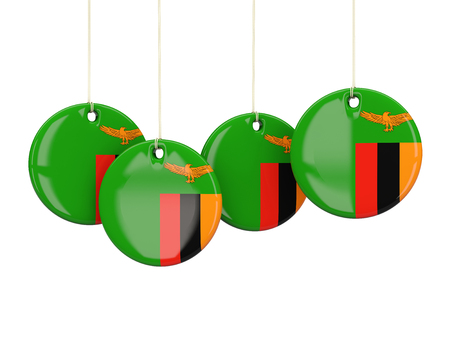 zambia: Flag of zambia, round labels on white. 3D illustration Stock Photo