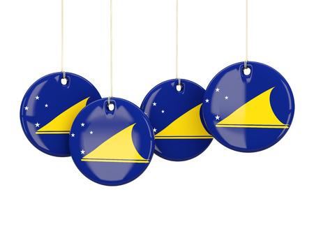 tokelau: Flag of tokelau, round labels on white. 3D illustration Stock Photo