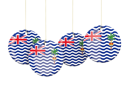 indian ocean: Flag of british indian ocean territory, round labels on white. 3D illustration