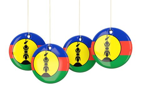 new caledonia: Flag of new caledonia, round labels on white. 3D illustration Stock Photo