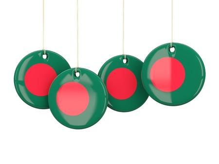 national flag bangladesh: Flag of bangladesh, round labels on white. 3D illustration