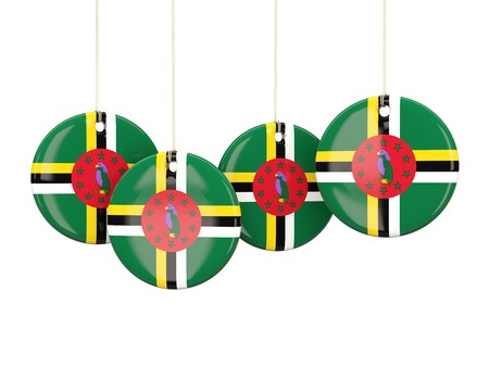 dominica: Flag of dominica, round labels on white. 3D illustration