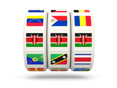 slots: Slots with flag of kenya isolated on white. 3D illustration