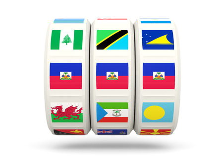 haiti: Slots with flag of haiti isolated on white. 3D illustration