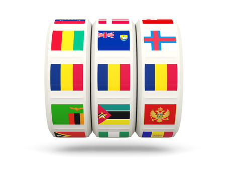 slots: Slots with flag of chad isolated on white. 3D illustration Stock Photo