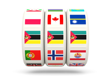 slots: Slots with flag of mozambique isolated on white. 3D illustration