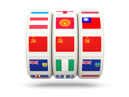 ussr: Slots with flag of ussr isolated on white. 3D illustration Stock Photo