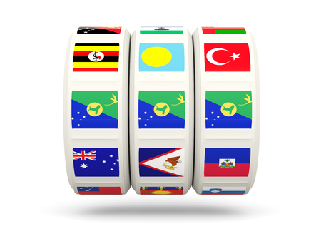luck wheel: Slots with flag of christmas island isolated on white. 3D illustration Stock Photo