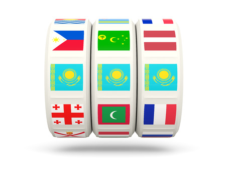 slots: Slots with flag of kazakhstan isolated on white. 3D illustration Stock Photo
