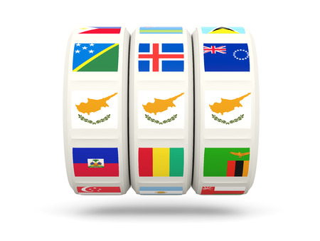slots: Slots with flag of cyprus isolated on white. 3D illustration Stock Photo