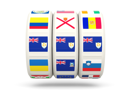 slots: Slots with flag of anguilla isolated on white. 3D illustration Stock Photo