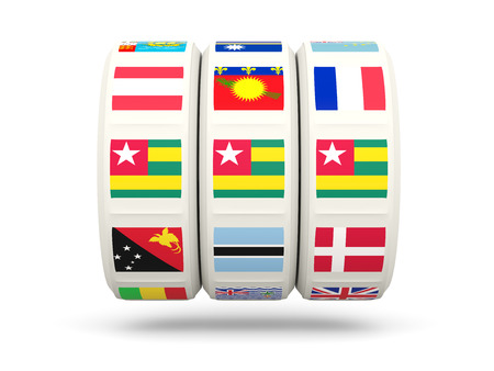 slots: Slots with flag of togo isolated on white. 3D illustration Stock Photo