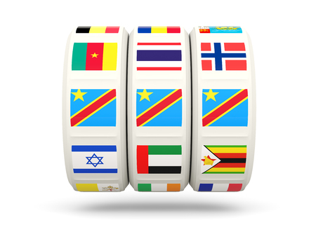 slots: Slots with flag of democratic republic of the congo isolated on white. 3D illustration