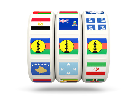 new caledonia: Slots with flag of new caledonia isolated on white. 3D illustration Stock Photo