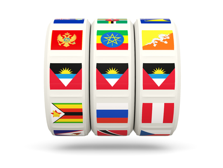 antigua: Slots with flag of antigua and barbuda isolated on white. 3D illustration Stock Photo