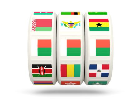 slots: Slots with flag of madagascar isolated on white. 3D illustration