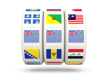 slots: Slots with flag of british indian ocean territory isolated on white. 3D illustration