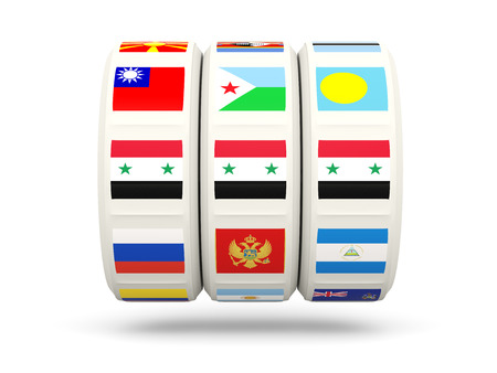 slots: Slots with flag of syria isolated on white. 3D illustration