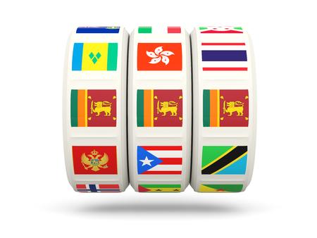 slots: Slots with flag of sri lanka isolated on white. 3D illustration Stock Photo