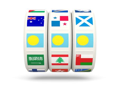 palau: Slots with flag of palau isolated on white. 3D illustration