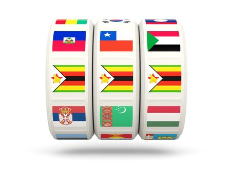 slots: Slots with flag of zimbabwe isolated on white. 3D illustration Stock Photo