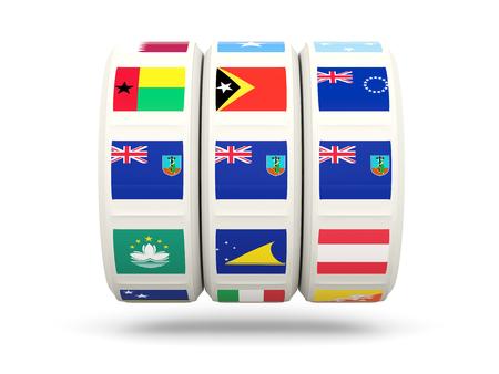 montserrat: Slots with flag of montserrat isolated on white. 3D illustration