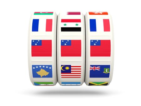 slots: Slots with flag of samoa isolated on white. 3D illustration