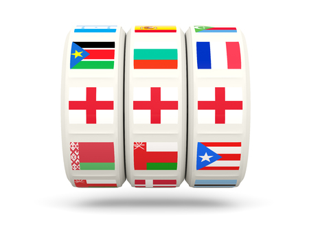 slots: Slots with flag of england isolated on white. 3D illustration