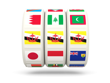 slots: Slots with flag of brunei isolated on white. 3D illustration