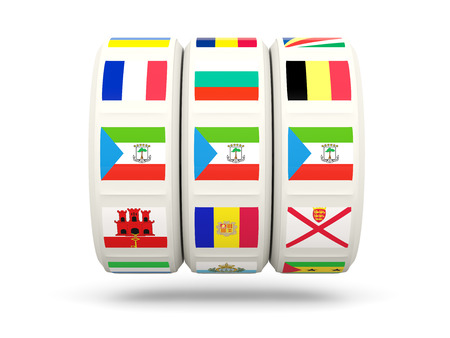 equatorial guinea: Slots with flag of equatorial guinea isolated on white. 3D illustration Stock Photo
