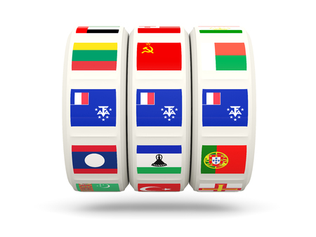territories: Slots with flag of french southern territories isolated on white. 3D illustration